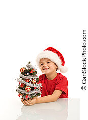 Happy boy with small christmas tree and santa hat