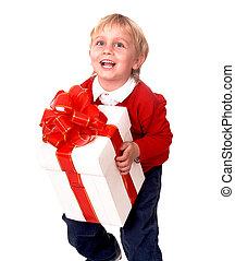 Happy boy with white gift box.