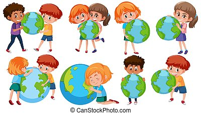 Happy boys and girls holding earth on white background