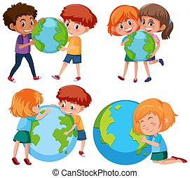 Happy boys and girls holding the earth on white background