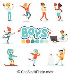 Happy Boys And Their Expected Normal Behavior With Active Games And Sport Practices Set Of Traditional Male Kid Role Illustrations