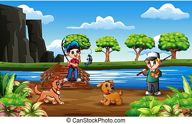Happy boys fishing with his pet at the wooden bridge