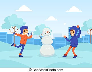 Happy Boys Making Snowman and Playing Snowballs in the Park, Winter Sports Outdoor Activity Cartoon Vector Illustration