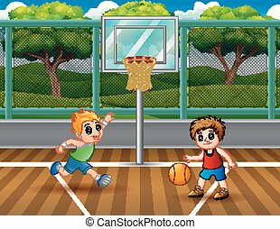 Happy boys playing basketball at the court