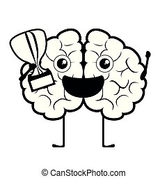 Happy brain cartoon with a golden trophy
