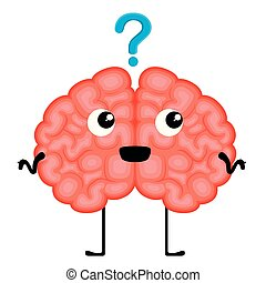Happy brain cartoon with a question mark