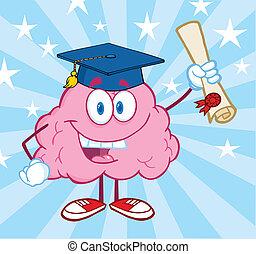 Brain Graduate Holding up A Diploma