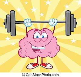 Happy Brain Lifting Weights - Happy Brain Cartoon Character...