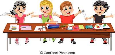 Happy brat kids children sitting desk school isolated