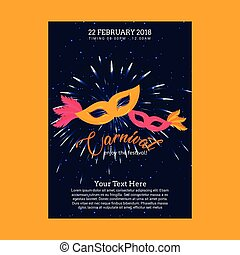 Happy Brazilian Carnival Day. Blue carnival brochure with yellow and pink masks and white sample text