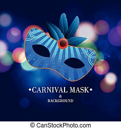 Happy Brazilian Carnival Day. Blue color carnival mask with blue feathers and white typography on blue blurred light background