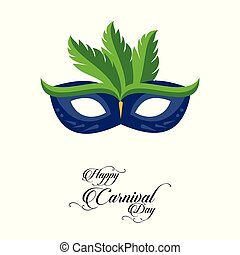 Happy Brazilian Carnival Day. Blue color carnival mask with green feathers on white background