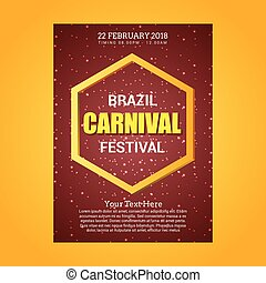 Happy Brazilian Carnival Day. brown carnival brochure with golden polygon, typography and sample text on yellow background