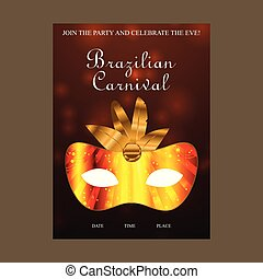 Happy Brazilian Carnival Day. Brown Carnval brochure with golden mask and golden feathers and sample text