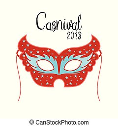 Happy Brazilian Carnival Day. Carnival mask in red color with black typography on white background
