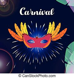 Happy Brazilian Carnival Day. carnival red mask on blue background