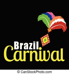 Happy Brazilian Carnival Day. carnival typography with feathers on black background