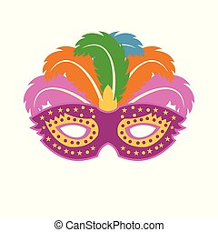 Happy Brazilian Carnival Day. colorful carnival mask on white background