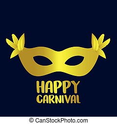 Happy Brazilian Carnival Day. Golden carnival mask with feathers and typography on blue background