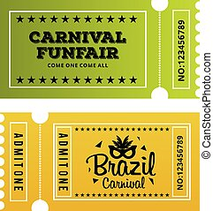 Happy Brazilian Carnival Day. Green and Yellow carnival circus tickets