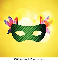 Happy Brazilian Carnival Day. green carnival mask on yellow background