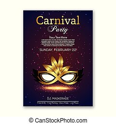 Happy Brazilian Carnival Day. purple carnival mask with black and golden mask and typography with white sample text