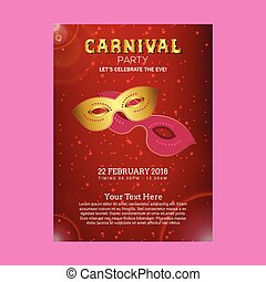 Happy Brazilian Carnival Day. Red carnival brochure with golden and pink mask and sample text