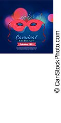 Happy Brazilian Carnival Day. Red carnival mask with typography and sample text on blue blurred lights background
