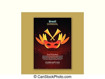 Happy Brazilian Carnival Day. Red Carnival mask with yellow leaves on red and black brochure background with sample text
