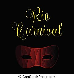 Happy Brazilian Carnival Day. Red color carnival mask and golden typography on black background