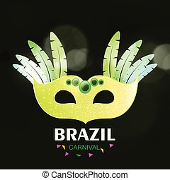 Happy Brazilian Carnival Day. Yellow Carnival mask with colorful feathers and creative typography on green background