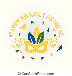 happy brazilian carnival festival. carnival mask in yellow color and white stroke with colorful leaves on grey background