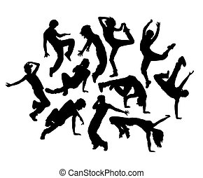 Happy Break Dance Expression Silhouettes