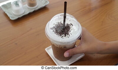 Happy breakfast with iced coffee mocha, stock video