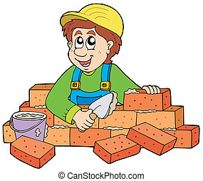 Happy bricklayer on white background - vector illustration.