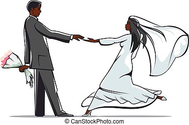 Happy bride and groom joining hands - African american bride...