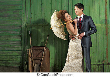 Happy Bride and Groom on Farm