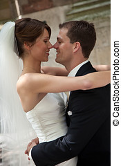 Happy bride and groom - Beautiful young couple on their...