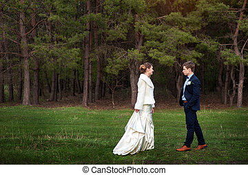 Happy bride and groom walking on the edge of a pine forest in th