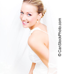 Happy Bride - Beautiful bride in white gown.