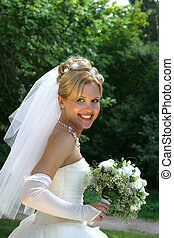 Happy bride - Beautiful smiles of the bride of the blonde