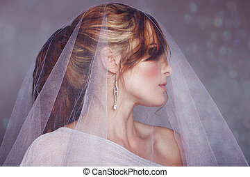 happy bride - happy beautiful bride with long blond hair in ...