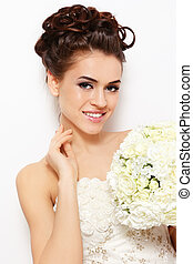 Happy bride - Portrait of young beautiful smiling bride with...