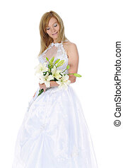 Happy bride with a bouquet of lilies