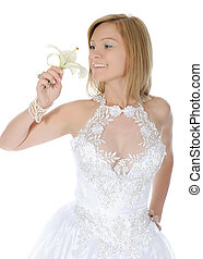 Happy bride with a lilies