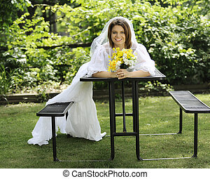 Happy Bride with Drooping Train