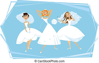 Happy brides - Three young brides enjoying themselves
