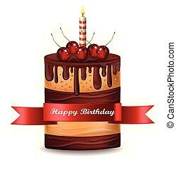 Happy Brithday cake Vector. Chocolate cake with cherry on top