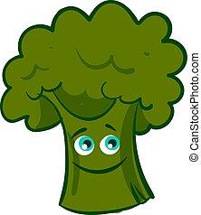 Happy broccoli, illustration, vector on white background