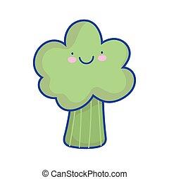 happy broccoli vegetable cartoon food cute flat style icon